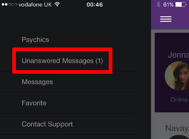 Live Psychic Chat Refund Menu Unanswered Messages